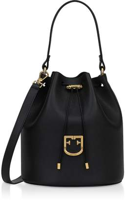 Furla Corona S Drawstring Leather Bucket Bag