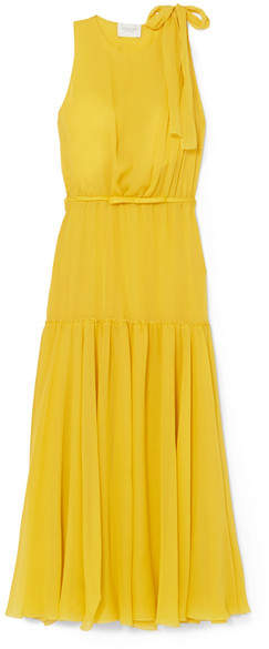Giambattista Valli Bow-embellished Silk-georgette Midi Dress - Yellow