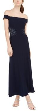 SL Fashions Petite Off-The-Shoulder Applique Gown