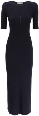 Gabriela Hearst Cashmere & Silk Rib Knit Midi Dress