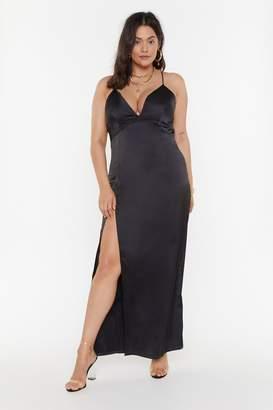 Nasty Gal Womens Look At You Plus Satin Dress - black - 16