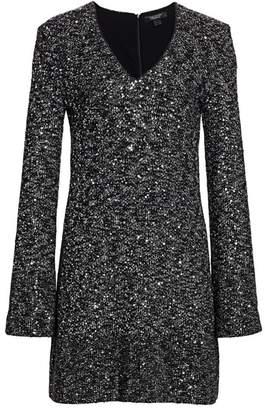 St. John Sequined V-Neck Sweater Dress