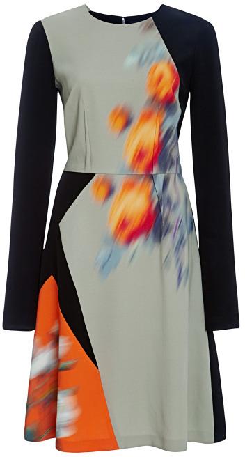 Peter Som Large Rose Cady Stretch Long Sleeve Dress