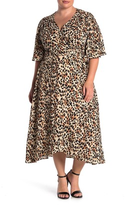 Bobeau Orna Printed Midi Wrap Dress (Plus Size)
