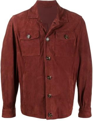 Barba Flap Pocket Leather Shirt
