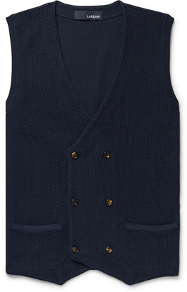 Lardini Double-Breasted Textured-Cotton Gilet