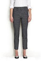 Classic Women's Petite Mid Rise Pattern Bi-Stretch Capri Pants-Black Dots