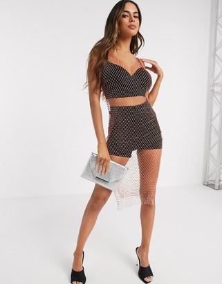 Love & Other Things rhinestone mesh dress in orange