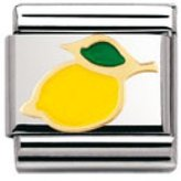 Nomination Composable Classic Fruits Lemon Stainless Steel, Enamel and 18K Gold