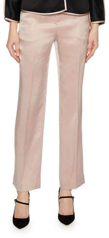 Giorgio Armani Silk Satin Straight-Leg Pants