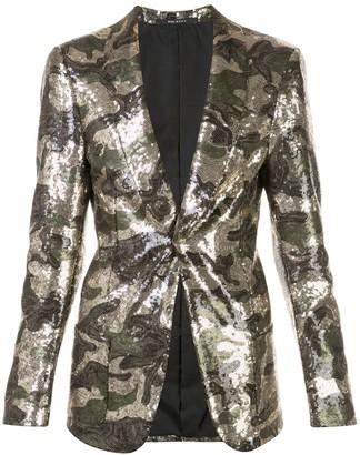 R 13 Sequined Camouflage Blazer
