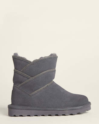BearPaw Charcoal Angela Shearling-Lined Suede Boots