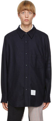 Thom Browne Navy Flannel 4-Bar Snap Front Shirt Jacket