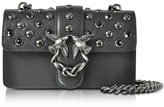 Pinko Mini Love Black Matte Leather Shoulder Bag w/Studs and Crystals