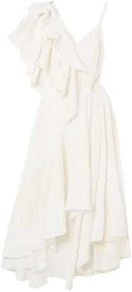 Loewe Asymmetric Cutout Jacquard-paneled Crepe Midi Dress