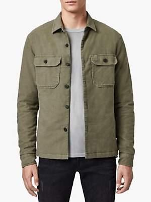 AllSaints Boldt Military Overshirt, Khaki Green