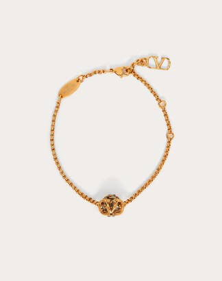 Valentino Vlogo Signature Bracelet In Metal And Crystal Women Gold/black Brass 100% OneSize