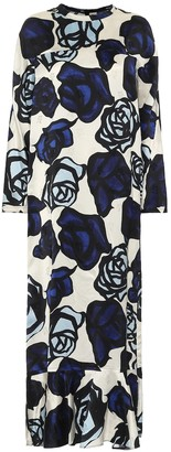 Marni Floral-jacquard satin midi dress