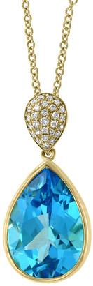 Effy Fine Jewelry 14K 7.27 Ct. Tw. Diamond & Blue Topaz Pendant Necklace