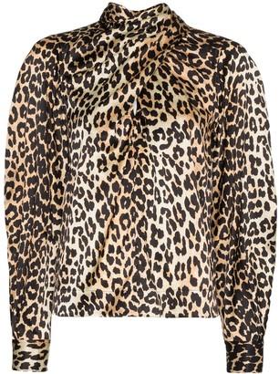 Ganni Tie-Neck Leopard Print Blouse