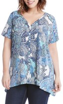 Karen Kane Plus Size Women's Button-Up Handkerchief Top