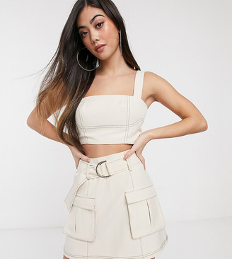 4th + Reckless Petite exclusive crop top with contrast stitching in white