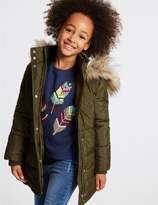 Marks and Spencer Faux Fur Zipped Through Coat with StormwearTM (3-14 Years)