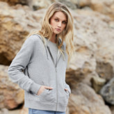 DSTLD Womens French Terry Zip Hoodie in Heather Grey