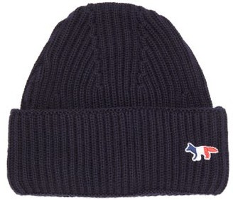 MAISON KITSUNÉ Tricolour Fox-patch Ribbed-wool Beanie Hat - Navy