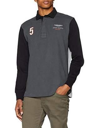 Hackett London Men's AMR Multi Rugby Polo Shirt, Grey, Medium