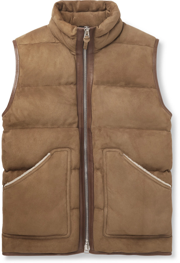 8794d3591 Shearling And Leather-Trimmed Quilted Suede Gilet