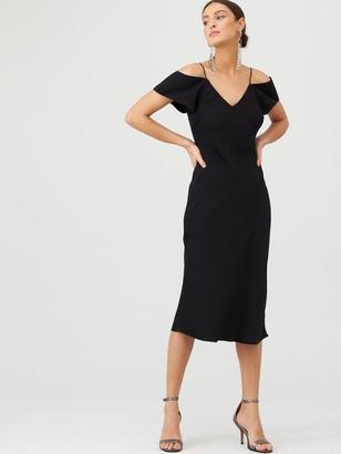 Very Cold Shoulder Slip Dress - Black