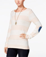 Maison Jules Striped Elbow-Patch Top, Only at Macy's