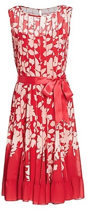 Teri Jon by Rickie Freeman Chiffon Floral Pleated Dress