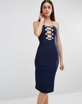 Rare Military Button Plunge Midi Dress