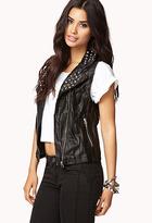 Forever 21 Crinkled Faux Leather Moto Vest