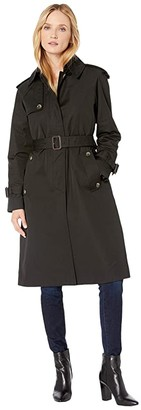 London Fog Megan Heritage Trench Coat with Removable Lining (Black) Women's Coat