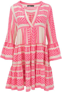 Devotion Neon Pink/ White Whinepi Embroidery Zakar Dress 0193193G - M - Pink/Natural