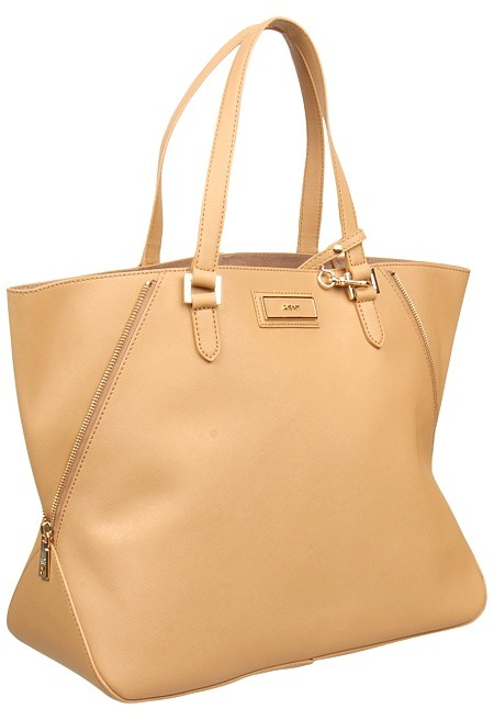 DKNY Saffiano Leather Large Zip Tote (Tan) - Bags and Luggage