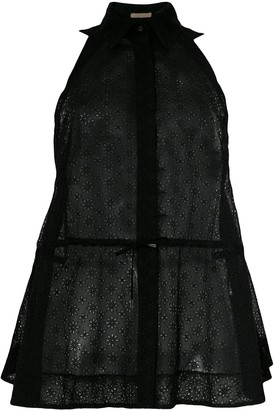 Alaia Pre Owned sheer drawstring sleeveless shirt