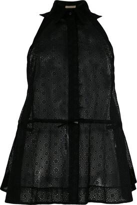 Alaïa Pre-Owned Sheer Drawstring Sleeveless Shirt