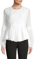 Lea & Viola Lace-Trim Peplum Top