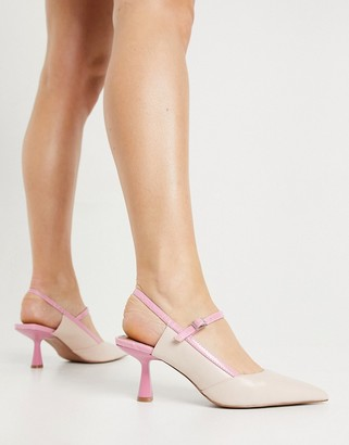 ASOS DESIGN Sapphire pointed mary jane mid heels in pink