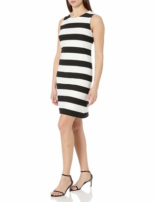 Ronni Nicole Women's Sleevless Striped Textured Knit Shift