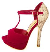 Charlotte Russe Glitter Back Sueded T-Strap Heel