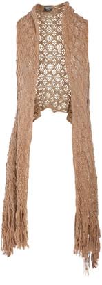 Lvs Collections LVS Collections Women's Sweater Vests KHAKI - Khaki Sidetail Sheer Open Vest - Women