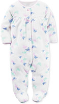 Carter's Butterfly-Print Footed Terry Coverall, Baby Girls