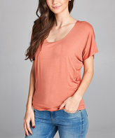 Salmon Scoop Neck Dolman Tee