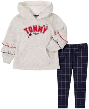 Tommy Hilfiger Little Girls Two Piece Hooded Tunic Top with Plaid Leggings Set