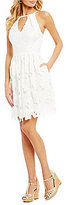 Adrianna Papell Halter Neck Lace Fit & Flare Dress
